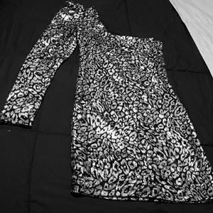 Silver one shoulder sequin dress
